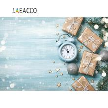 Laeacco Wooden Board Christmas Festivals Clock Gift Pine Ball Polka Dot Doll Pet Portrait Photo Backgrounds Photography Backdrop