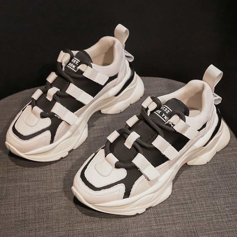 Spring Casual Platform Sneakers Fashion Lace Up Chunky Sneakers Women Shoes Black Beige Dad Sneakers Unisex Plus Size 35-43