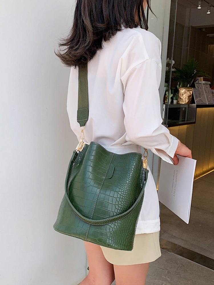 Crossbody-Bag Handbag Bucket-Bag Women Bags Crocodile Luxury Brand Designer Ansloth PU