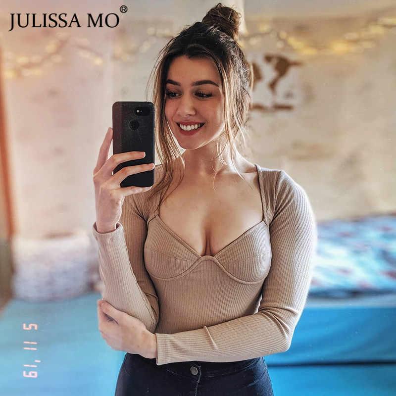 Julissa mo, Трикотажный боди с длинным рукавом, женские топы, сексуальный Облегающий комбинезон с v-образным вырезом, женский комбинезон, весна 2019, повседневный базовый боди