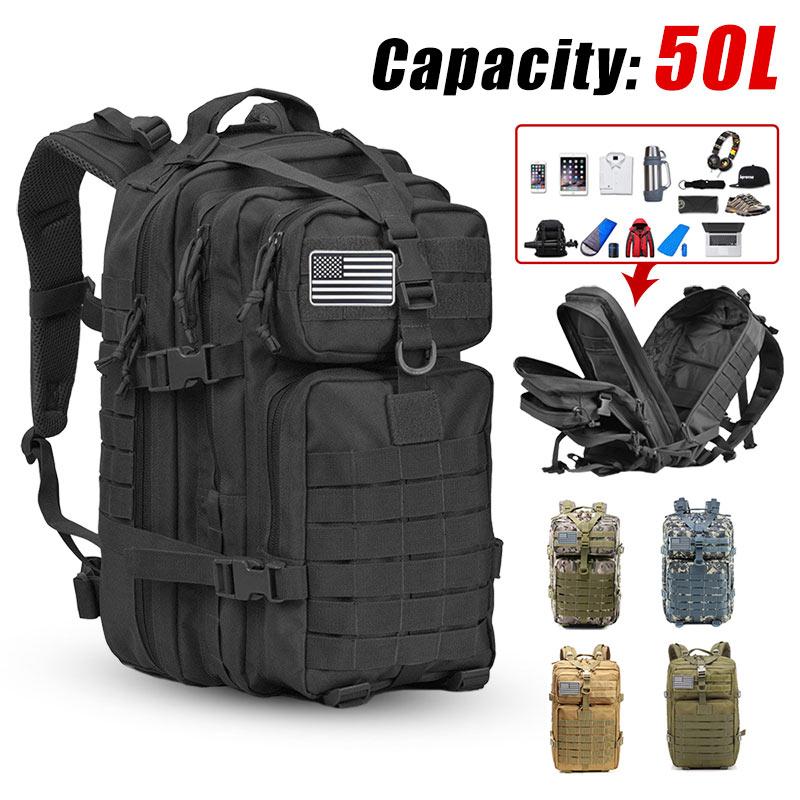 50L ขนาดใหญ่ผู้ชายกองทัพทหารยุทธวิธีกระเป๋าเป้สะพายหลัง 3P Softback กลางแจ้ง Bug กันน้ำ Rucksack เดินป่าตั้...