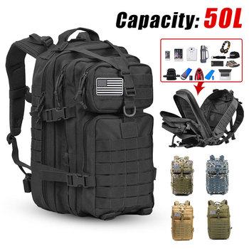 50L grote capaciteit heren leger militaire tactische rugzak 3P zachte rug outdoor waterdichte rugzak voor wandelen kamperen jagen