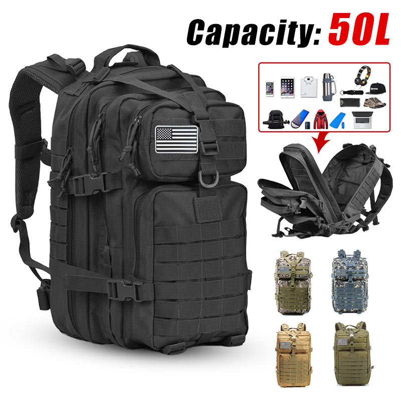 50L gran capacidad hombres ejército militar táctico mochila 3P Softback exterior impermeable Bug mochila senderismo Camping caza bolsas