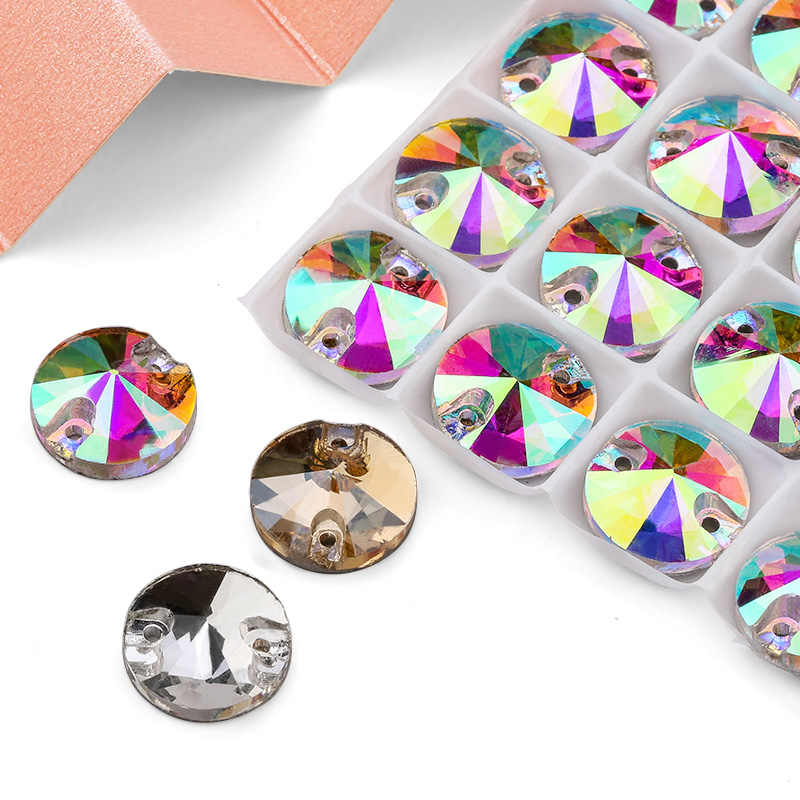 8mm-16mm Round Crystal AB Color Silver Base Sew On Rhinestone Beads, Sew On Stones Spacer buttons for Garment Jewelry 30-100pcs