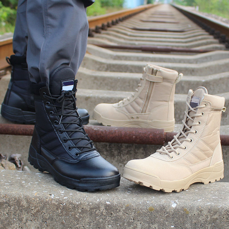 New High Quality Men's Lightweight Tactical Military Boots Combat Shoes Desert Waterproof Boots Airsoft Hunting Accessories Gear