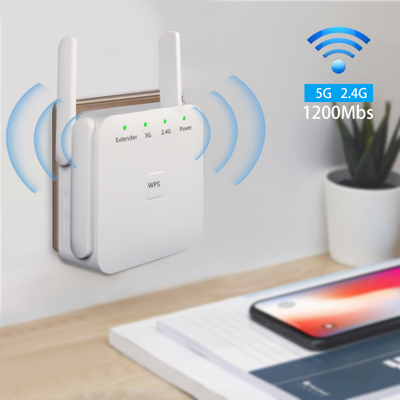 5G WiFi Booster Signal Amplifier 1200Mpbs Wireless WiFi Repeater Long Range Extender Internet Signal Booster For House Home