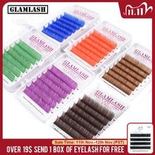 GLAMLASH natural soft Purple Blue Brown Green Red Color Eyelash Extension Premium Individual Mink lash makeup cilio for building