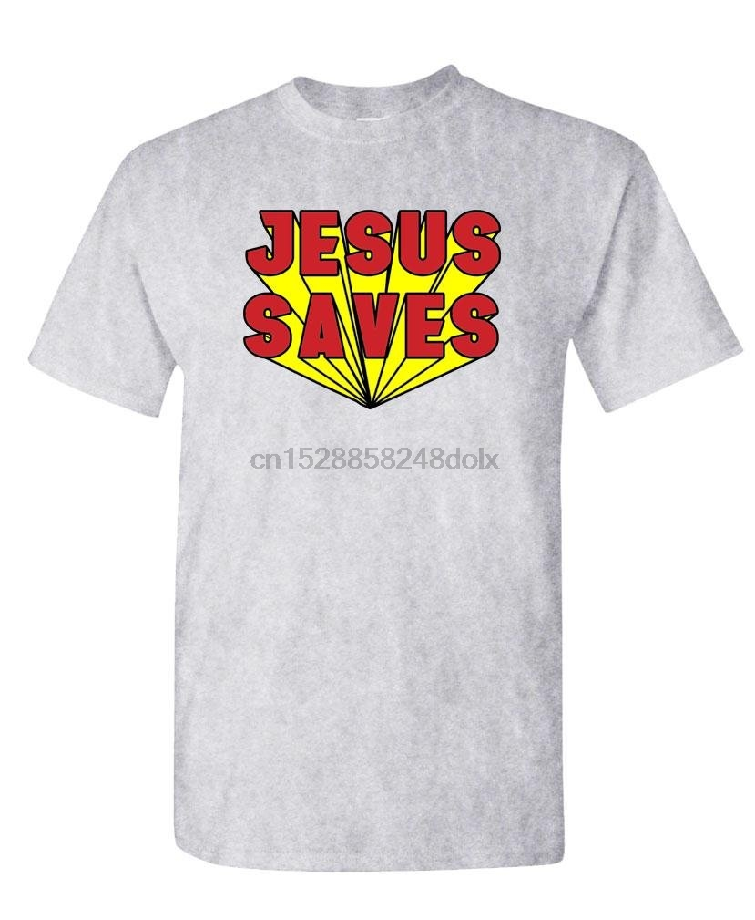 - Jesus Saves - Retro Vintage Style 80's - Mens Cotton T-Shirt