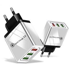 """Image 1 - 18W מהיר תשלום 3.0 האיחוד האירופי ארה""""ב 5V 3A מהיר טעינה נייד טלפון USB מטען עבור iPhone 11 פרו מקסימום Huawei Mate 30 פרו נסיעות מטענים"""