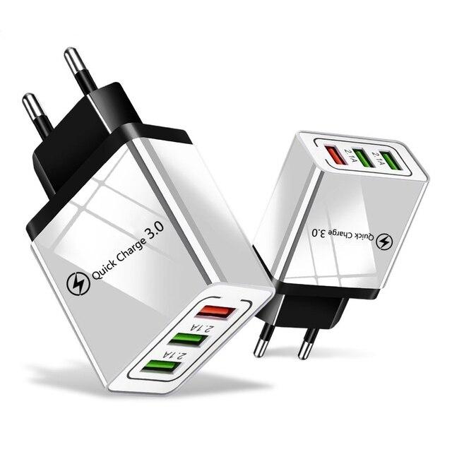 """18W מהיר תשלום 3.0 האיחוד האירופי ארה""""ב 5V 3A מהיר טעינה נייד טלפון USB מטען עבור iPhone 11 פרו מקסימום Huawei Mate 30 פרו נסיעות מטענים"""