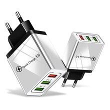 18W 빠른 충전 3.0 EU 미국 5V 3A 빠른 충전 휴대 전화 USB 충전기 아이폰 11 프로 최대 화웨이 메이트 30 프로 여행 충전기