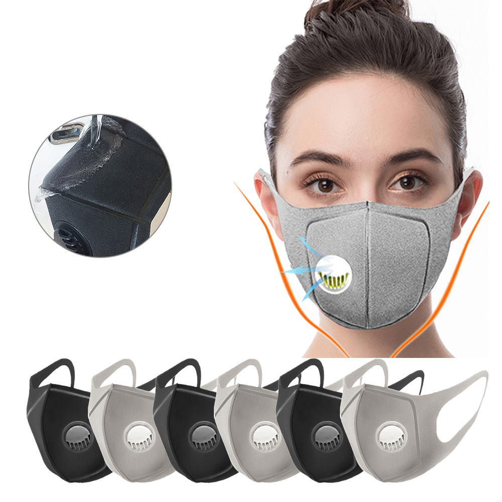 Men Women Anti Dust Dust Mask Anti PM2.5 Pollution Face Mouth Respirator Black Breathable Valve Mask Filter 3D Mouth Cover