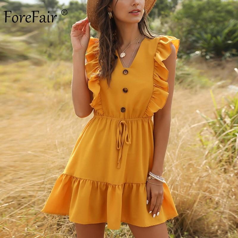 Forefair Sexy Women Dress Ruffle 2020 Off Shoulder Tunic High Waist Party V Neck Casual Boho Beach Yellow Women Summer Dress