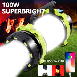 100W Long Use,USB Rechargeable 8000 Lumen LED Torch Camping Lantern Water Resistant Outdoor Search Flashlight for Fish Hunt