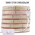 Светодиодная ленсветильник 220 В с переключателем SMD 5730 2835 5050, гибкая светодиодная лента 180/240 светодиодов/м, уличная Водонепроницаемая светод...
