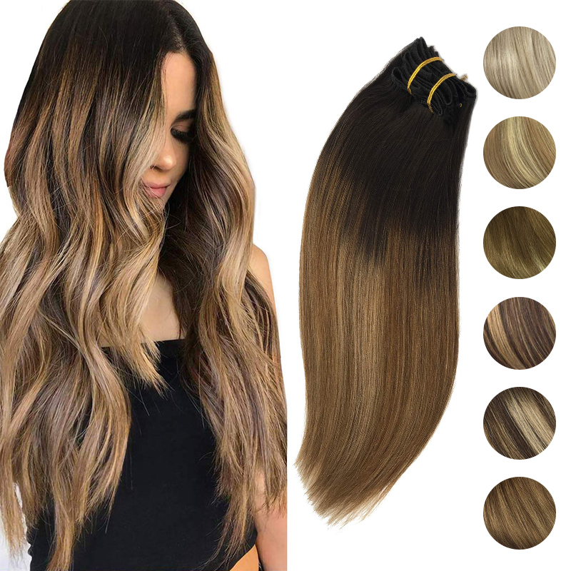 Full Head Clip in Hair Extensions Natural Black to Light Brown Honey Blonde Ombre Color Straight 100% Human Remy Hair Extensions