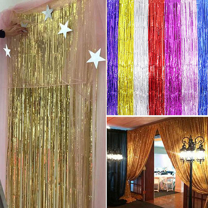 1m 2m 3m metallic fringe curtain party foil tinsel home room stage decor curtain brithday party wall decor door decoration