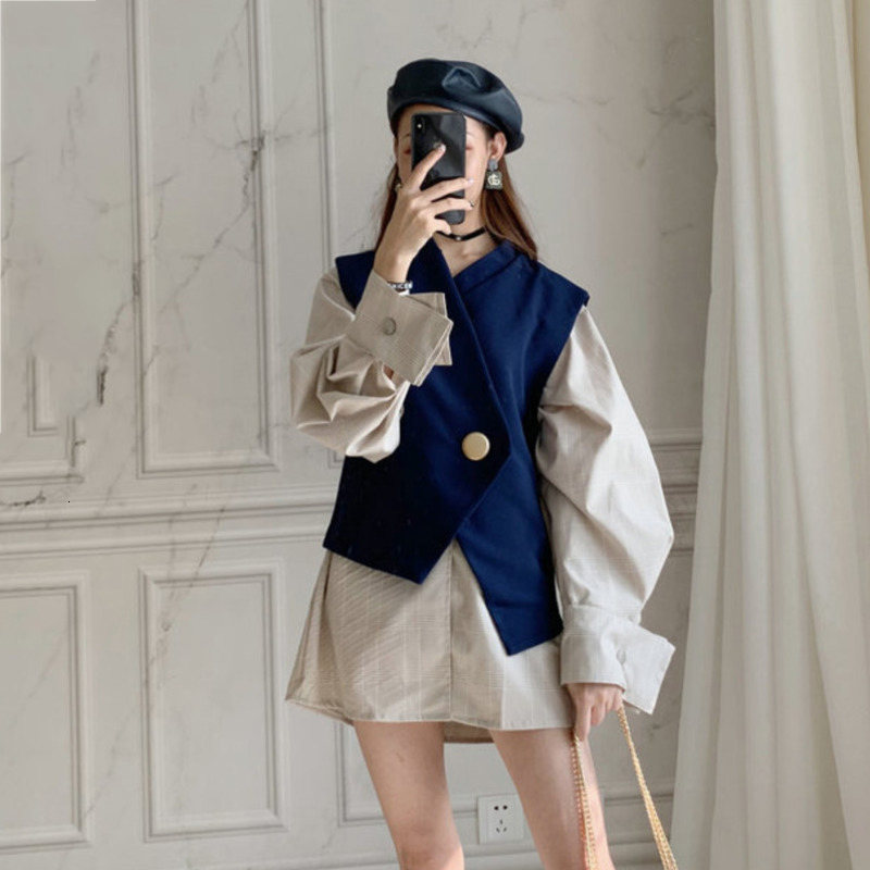 LANREM 2020 Spring New V Collar Single-breasted Irregular Lantern Long Sleeve Shirt + Sleeveless Waistcoat Fashion Set YG90105