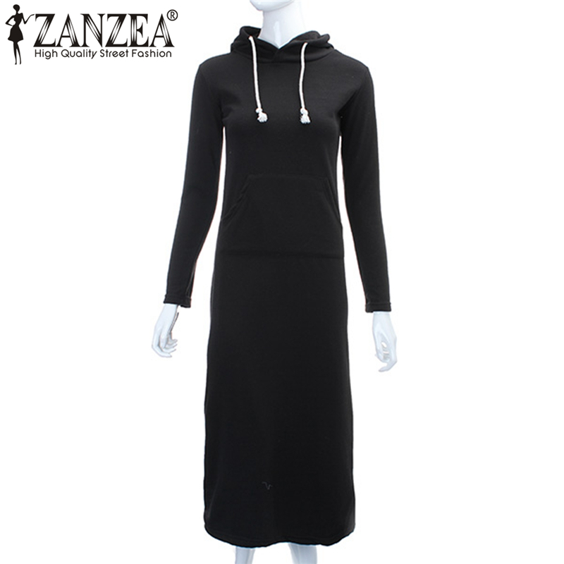 ZANZEA 2019 Women Hoodies Fleece Autumn Winter Slim Bodycon Hooded Sweatshirts Long Maxi Dress Vestidos Plus Size Pullover Femme