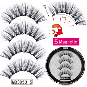 Image 3 - MB New Long 5 Magnetic Eyelashes Eyeliner Set 3D Mink Eyelashes Thick Faux Cils Magnetique Natural Glue Free Magnet False lashes