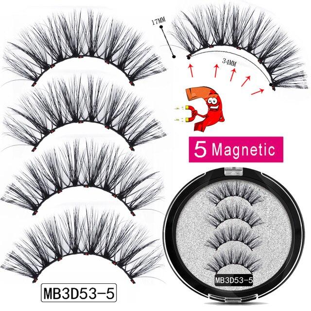 MB New Long 5 Magnetic Eyelashes Eyeliner Set 3D Mink Eyelashes Thick Faux Cils Magnetique Natural Glue Free Magnet False lashes 2