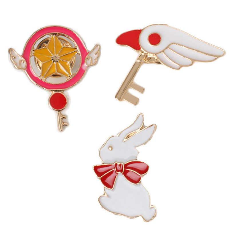 Klasik Unisex Hewan Bros Anime Kartun Bintang Staf Burung Kepala Seragam Drip Kelinci Putih Pin Produsen Grosir