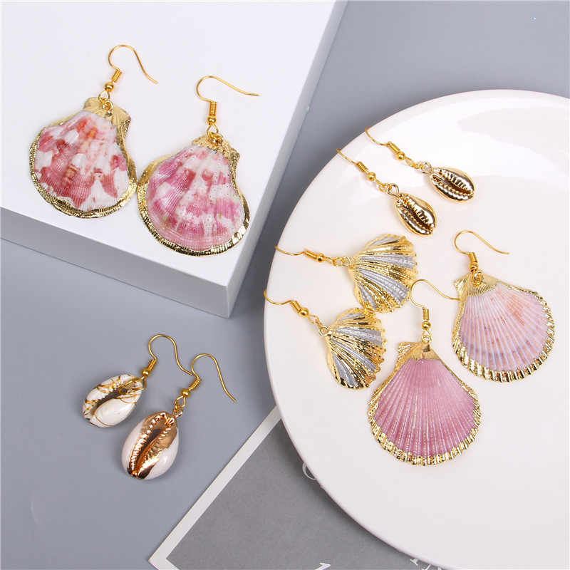 2019 New Boho Shell Earrings For Women Earring Hanging Pendant Statement Drop Earrings Dangle Sea Shell Summer Beach Jewelry