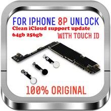 IPhone 8 Plus 마더 보드 용 깨끗한 iCloud 64gb 256gb iPhone 8 Plus 용 잠금 해제 칩이있는 터치 id가있는 로직 보드 MB LTE 4G