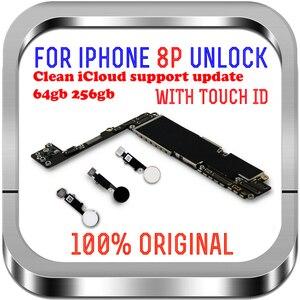 Image 1 - Temiz iCloud iPhone 8 için artı anakart 64gb 256gb unlocked iPhone 8 için artı mantık kurulu ile dokunmatik ID cips MB LTE 4G