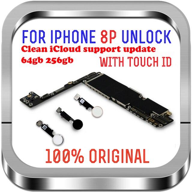 Temiz iCloud iPhone 8 için artı anakart 64gb 256gb unlocked iPhone 8 için artı mantık kurulu ile dokunmatik ID cips MB LTE 4G