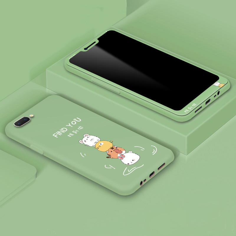For <font><b>OPPO</b></font> Reno F9 F11 A5S A3S A7 <font><b>A83</b></font> A59 F1S Full <font><b>Cover</b></font> Cartoon Printed <font><b>Case</b></font> with Tempered Glass Screen Protector image
