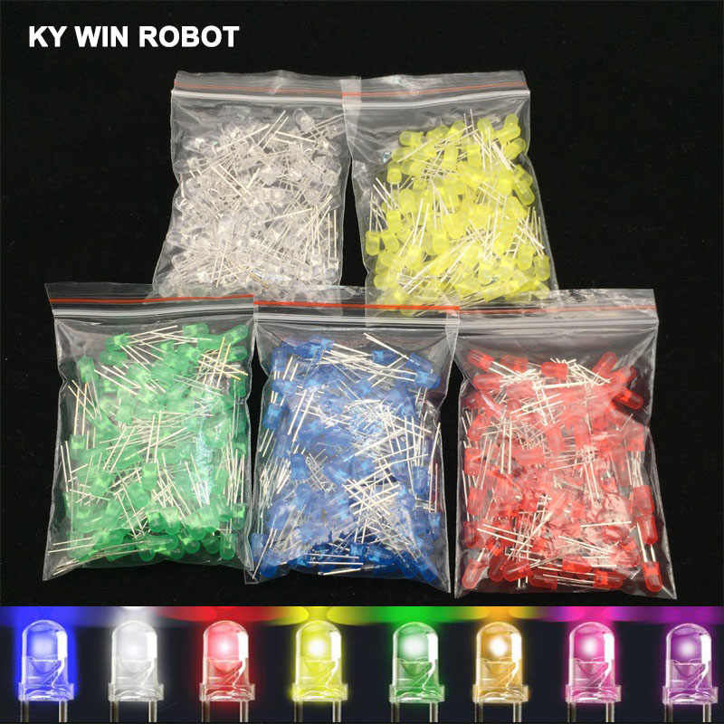 100pcs 5mm LED Diode 5mm Diverse Kit Wit Groen Rood Blauw Geel Oranje Roze Paars Warm wit DIY Light Emitting Diode