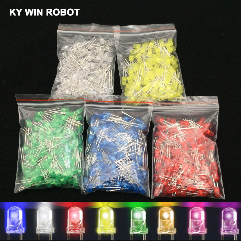 100pcs <font><b>5mm</b></font> <font><b>LED</b></font> Diode 5 mm Assorted Kit White Green Red Blue Yellow Orange Pink Purple Warm white DIY Light Emitting Diode image