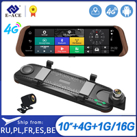 E ACE Car Dvr Stream RearView Mirror Camera 4G Android FHD 1080P 10 Inch Dual Lens ADAS Video Recorder Auto Registrar Dashcam