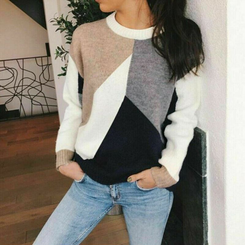 Women's Long Sleeve Patchwork Crew Neck Pullover Sweaters Casual Autumn Winter Warm Bottoming Tops