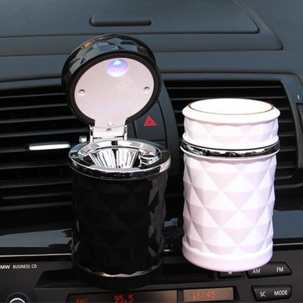 Portable LED Light Car Ashtray Universal Cigarette Cylinder Holder Auto Accessories