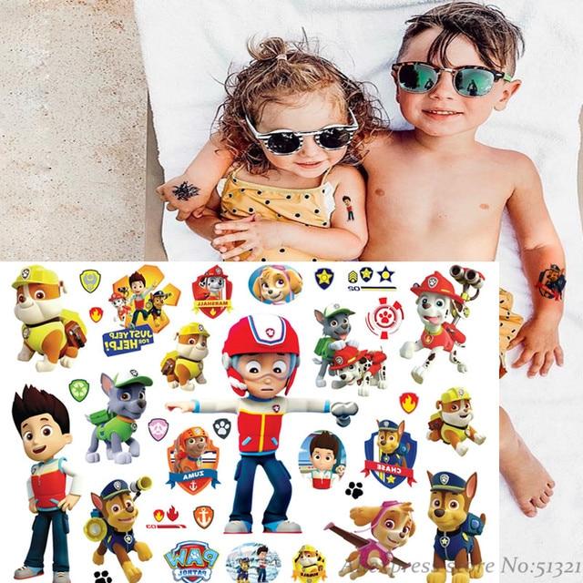 Autocollant de tatouage temporaire de bande dessinée de patrouille de patte pour des garçons enfants jouets Tatoo pâte de papier imperméable à leau fête enfants cadeau