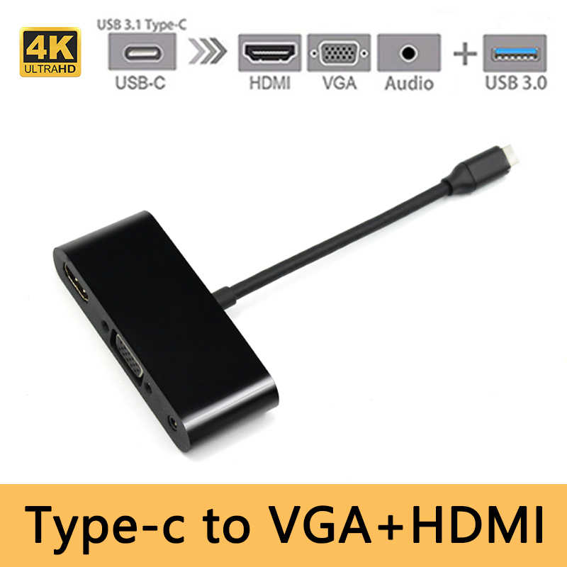 USB Tipe C Ke HDMI 4K VGA Audio 3.5 Mm Adapter 3 In 1 Usbc Converter Adaptor Kabel untuk Laptop MacBook/Chromebook Pix