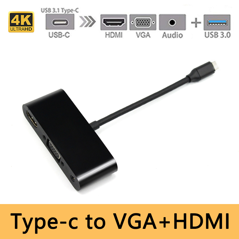 USB C Type C To HDMI 4K VGA  Audio 3.5mm USB3.0 Adapter 1 In 3 USBC Converter Cable Adaptor For Laptop Macbook/ Chromebook Pix