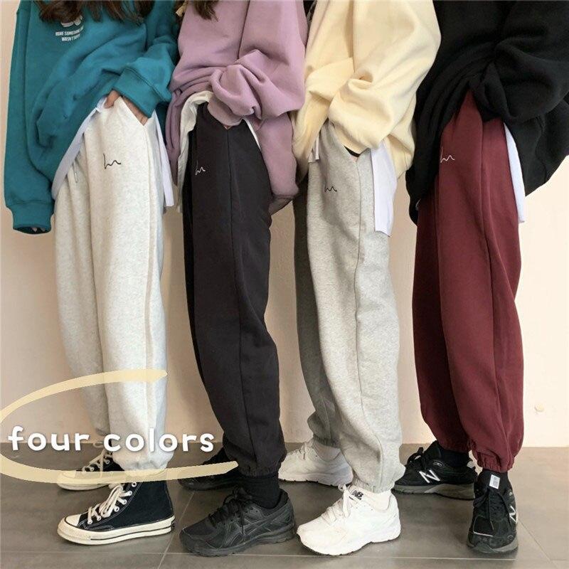 Korean Style Pants High Waisted Beam Leg Straight Cut Add Velvet Retro Casual Streetwear Harajuku Sweatpants Free Shipping 2020