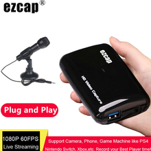 Ezcap 301 HD 1080P 60fps Video Capture Card HDMI To USB Live Streaming Plate Game Recording Box Mic Audio Input TV Loop Out