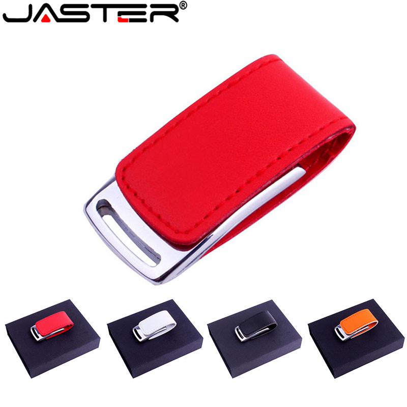JASTER Leather USB Flash Drive Real 4GB 8GB 16GB 32GB 64GB 128GB USB 2.0 LOGO Custom Pen Drive With Gift Cardboard Box