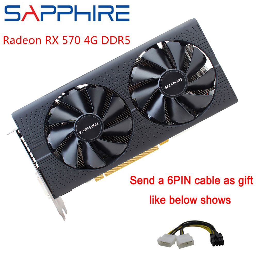 SAPPHIRE AMD Radeon Graphics Cards RX 570 4GB Computer Gaming PC 256bit GDDR5 Video Card PCI Express 3.0 Desktop For Used Cards