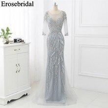 Erosebridal vestido de noche de sirena de media manga, elegante vestido Formal largo de lujo con cuentas, gris, con cremallera en la espalda, 2020