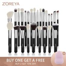 Zoreya – ensemble de pinceaux de maquillage noirs, Kit de 8-25 pièces, ombre à paupières, poudre de fond de teint, blush, correcteur, mélange de Contour classique