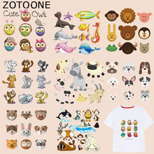ZOTOONE Cute Animal Cat Patches Bear Owl Stickers Iron OnTransfers for Clothes T-shirt Diy Accessory Appliques Heat Transfer G