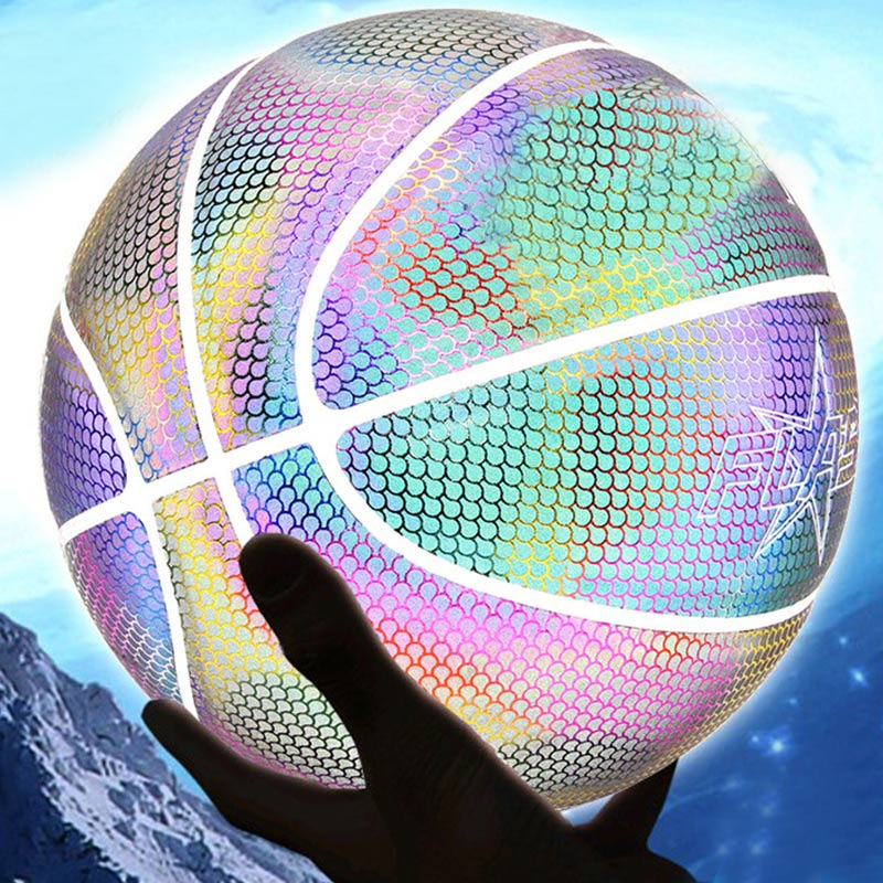 Holographic Glowing Reflective Basketball Lighted Glow Basketball Night Game Portable WHShopping