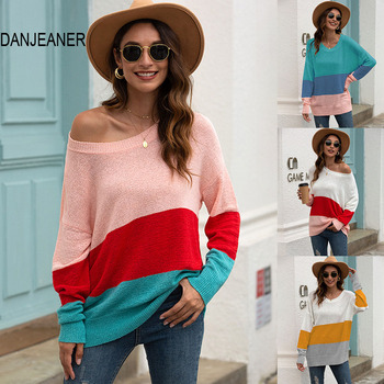 DANJEANER Autumn Off Shoulder Rainbow Striped Knitted Pullovers Women Long Sleeve Casual Loose Sweaters Tops Fashion Knitwear danjeaner long sleeve sweaters women 2018 autumn sexy off shoulder wrap knitted sweaters tops v neck slim pullovers jumper shawl