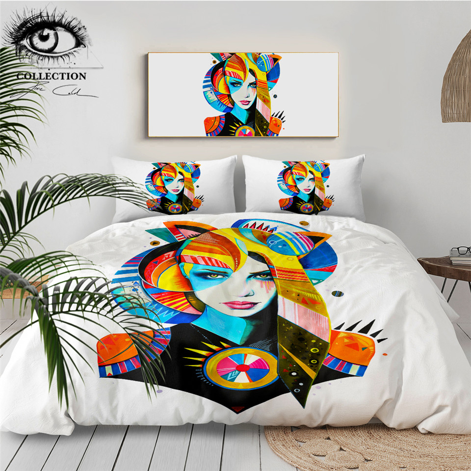 أصلي فتاة بواسطة بيكسي الباردة الفن طقم سرير للمرأة حاف الغطاء مع سادات المائية طقم سرير المنسوجات المنزلية الملونة 3 قطعة