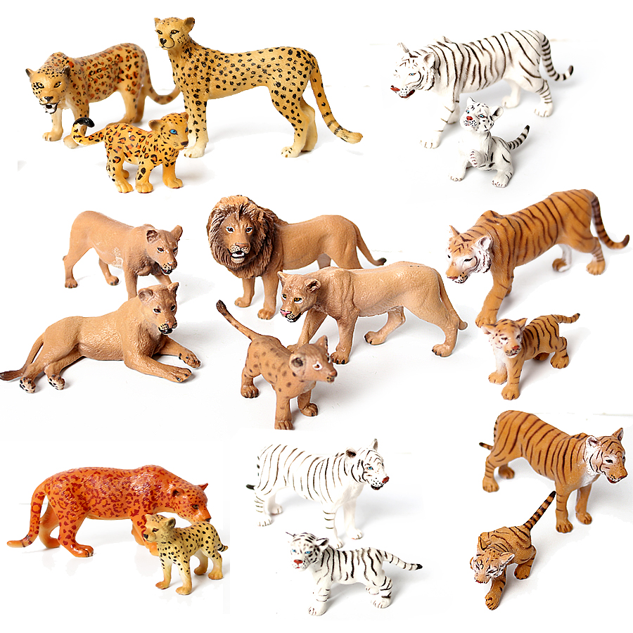 Model Figurines Hand-Painting Jungle-Animals Tiger-Lions Educational for Toddler Leopard